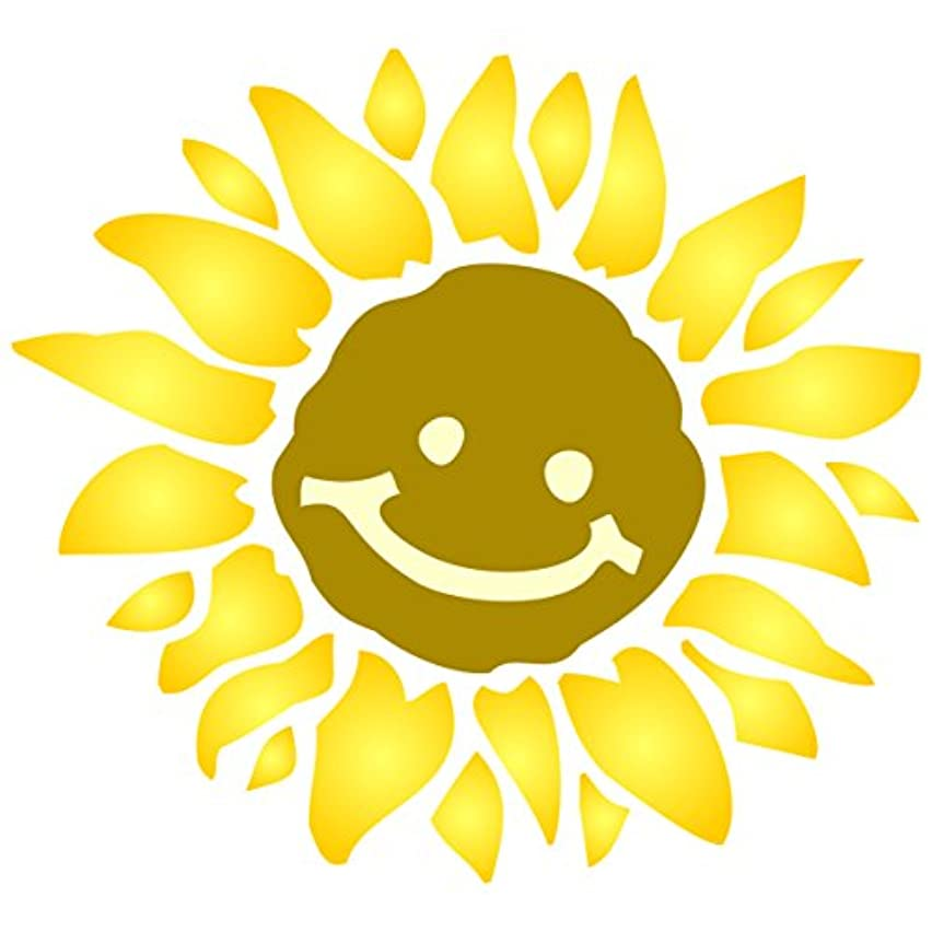 Sunshine Flower Stencil - 14 x 14 inch (L) - Large Reusable Flower Baby Childs Nursery Wall Stencils for Painting - Use on Paper Projects Walls Floors Fabric Furniture Glass Wood etc.