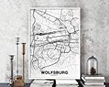 MG global Wolfsburg Germany Map Poster Black White Hometown