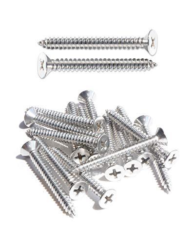 IMScrews, 100 tornillos autoperforantes de acero inoxidable de cabeza plana de 45 mm, 18-8 (304)