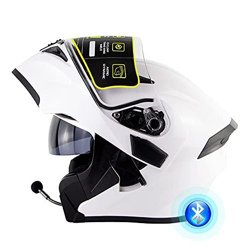 Casco Moto Integrato Bluetooth Modulare Flip Full Face Casco Moto con Doppio Parasole Antiappannamento Certificazione Universale DOT/ECE per Uomo E Donna 53-62CM