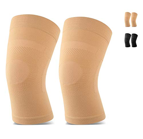 Knee Sleeves, 1 Pair, Could Be Worn Under Pants, Lightweight Knee Compression Sleeves for Men Women, Knee Brace Support for Joint Pain Relief, Arthritis, ACL, MCL, Sports, Injury Recovery, Beige S