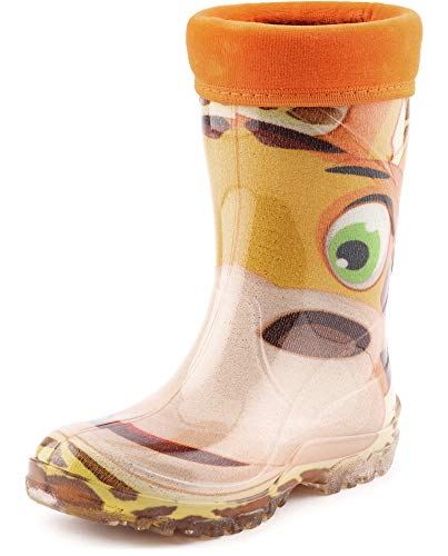 Ladeheid Kinder Mädchen Jungen PVC Gummistiefel Regenstiefel KL003 (Orange/Giraffe, 35/36 EU)