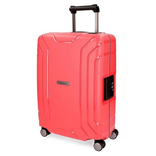 Movom Newport Maleta de cabina Rojo 40x55x20 cms Rígida Polipropileno Cierre TSA 36L 3Kgs 4 Ruedas Dobles Equipaje de Mano