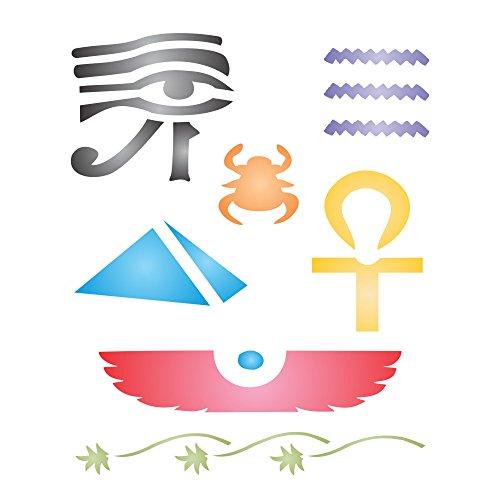 Ägyptische Schablone–wiederverwendbar Alten Ägypten Hieroglyphen Pharao Wand Schablone–Vorlage, auf Papier Projekte Scrapbook Tagebuch Wände Böden Stoff Möbel Glas Holz etc. L