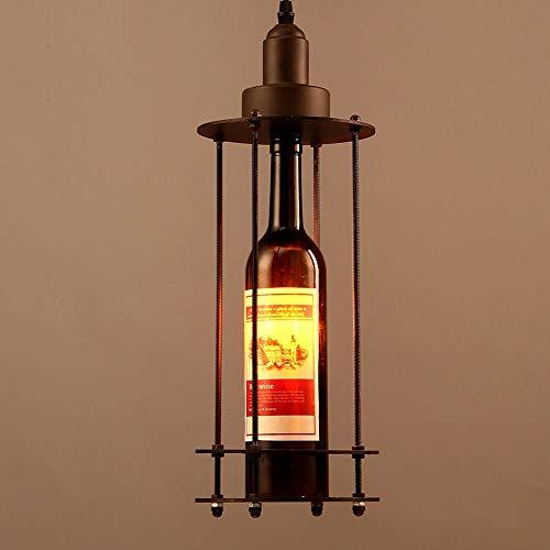 COCNI Schmiedeeisen Runde Glas Wein Flasche Pendelleuchte Retro Kreative Bar Hängen Licht Wohnzimmer Esszimmer Restaurant Droplight Amerikanischen Land Metall Loft Kronleuchter E14