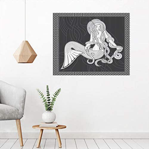 Mermaid Decor Canvas Paintings, Retro Style Art Illustration of a Mermaid Brushing Hair and Border with Celtic Patterns Wallpaper Picture Bedroom Decor-Peel and Stick, 24'W x 35'L Grey