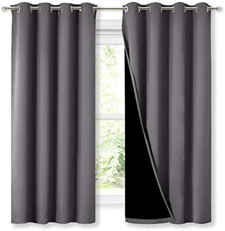 NICETOWN 100 Blackout Curtains with Black Liners Thermal Insulated Full Blackout 2 Layer Lined product image