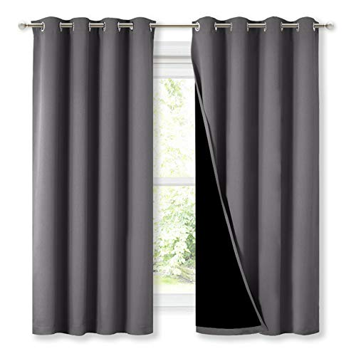 NICETOWN 100% Blackout Curtains with Black Liners, Thermal Insulated Full Blackout 2-Layer Lined Drapes, Energy Efficiency Window Draperies for Bedroom (Grey, 2 Panels, 52-inch W by 63-inch L)
