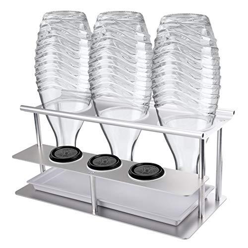 3er Flaschenhalter Abtropfständer für Sodastream Emil Flaschen, Abnehmbarer Flaschenständer aus Aluminiumlegierung mit Deckelhalter, Herausnehmbare Abtropfschale und Kratzfester Silikonring (Silber)