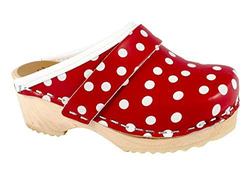 Zuecos para niños - color rojo con puntos blancos