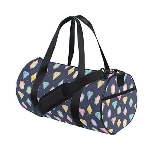 HARXISE Sporttasche Reisetasche,Grafische Edelsteine mit verschiedenen Formen Billionen Tropfen und Marquise Schnittmuster,Schultergurt Handgepäck für Übernachtung Reisen