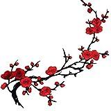 Zonfer Parche Bordado 1pc Bordado Flor del Ciruelo Flor Apliques Ropa Tela Engomada Hierro En Sew Craft Rojo De Flores De Hierro En Remiendos del Bordado Cose Hierro En Apliques
