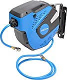Carrete de Manguera Aire Comprimido 10 m + 0,9 m | Conector 1/4 | Soporte Pared 180° metálico | 7,5 x 11,5 mm | 300 Psi / 20 bar