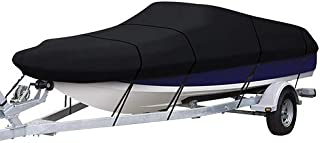 LEADALLWAY Heavy Duty Boat Cover,  210D PU Coating Trailerable Runabout Boat Cover Fits V-Hull Tri-Hull Runabouts and Bass Boats (16-18FT)