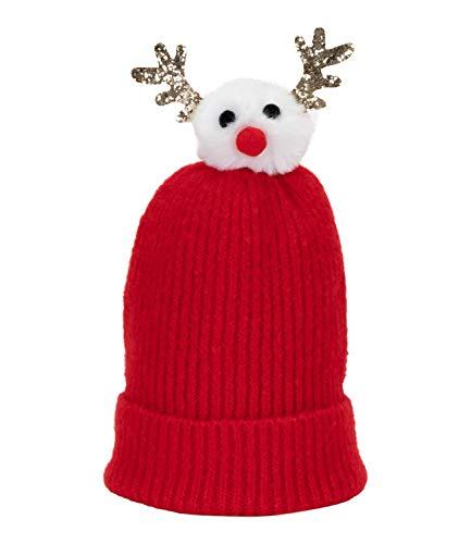 SIX Weihnachtliche rote Bommelmütze mit Wechselbommel (530-047)