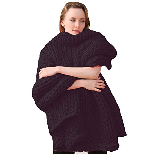 WWL Knitted Blanket Handmade Chunky Knit Blanket Soft Knitting Throw Bed Rug Bulky Sofa Pet Mat Blanket Bedroom Decor White Chunky Knitted Blanket Handmade (Color : C, Size : 120x150cm)