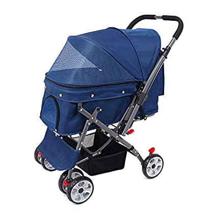 Wooce Pet Four-wheeled Reversible Trolley Cats Dogs Carts Shockproof Durable Stroller Adjustable Direction,One-click Folding,Quick Installation,Suitable For Travel(Blue) 1