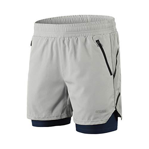 ARSUXEO Pantalones Cortos de Running para Hombre Deporte Pantalones Cortos para Correr B191 Gris XL