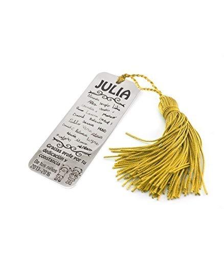 Silver & Steel Marcapáginas con Letra de los niños para Profesor. Marcapagínas de Plata Personalizado (Dorado)