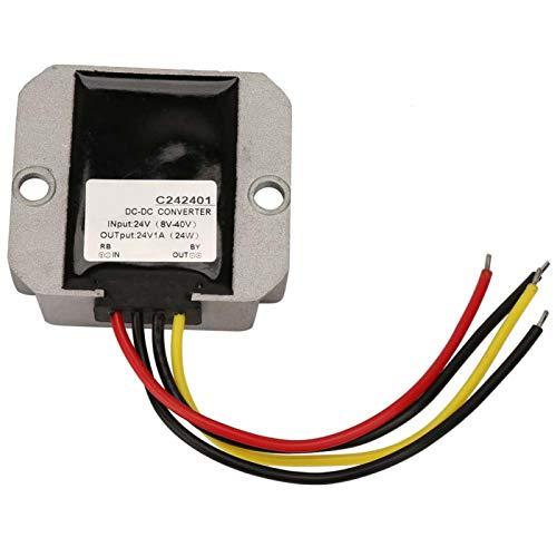 Regulador de voltaje de 24 V, regulador de voltaje de refuerzo de carcasa de aluminio impermeable Ip68, 8-40 V a 24 V a prueba de polvo para la pantalla del coche del ventilador(1A)