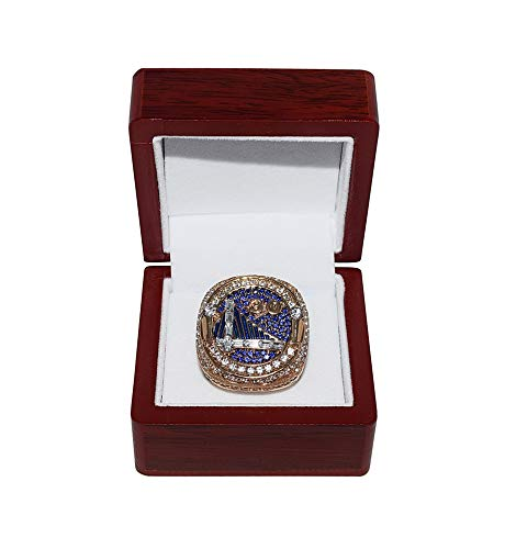 Golden State Warriors (Stephen Curry) 2018 NBA Finals World Champions JUST US (Strength In Numbers) Rare Collectible High-Quality Replica Gold Basketball Championship Ring with Cherrywood Display Box
