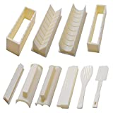 Sushi Making Kit for Beginners Deluxe Version with Complete Sushi Mold Set, 10 Pieces of Plastic Sushi Maker Kit, Diy Sushi Rice Roll Mold Fork Spatula, Sushi Roll Shape (Off-white)