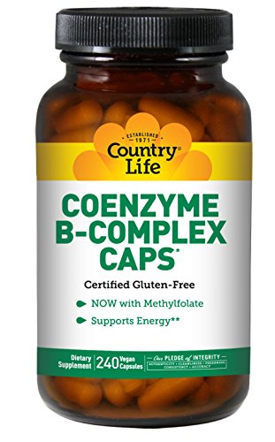 Country Life Coenzyme B-Complex Caps Essential B Vitamins B1, B2, B6, B12, Niacin, Biotin & Methylfolate - Promotes Clean Energy Production - Vegan, Gluten-Free - 240 Vegan Capsules