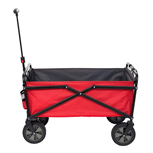 SEINA 150 Pound Capacity Portable Folding Steel Wagon Outdoor Garden Cart, Red