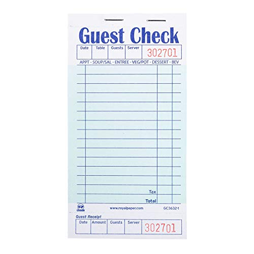 Royal Green Guest Check Board, 1 Part Booked with 15 Lines, Package of 10 Books