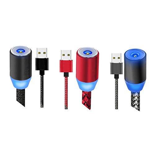 Cable de carga magnético 3 en 1 con 3 cabezales de cable (Micro USB/L/Tipo C) Cable de carga de cable trenzado giratorio de 360 ° 2M