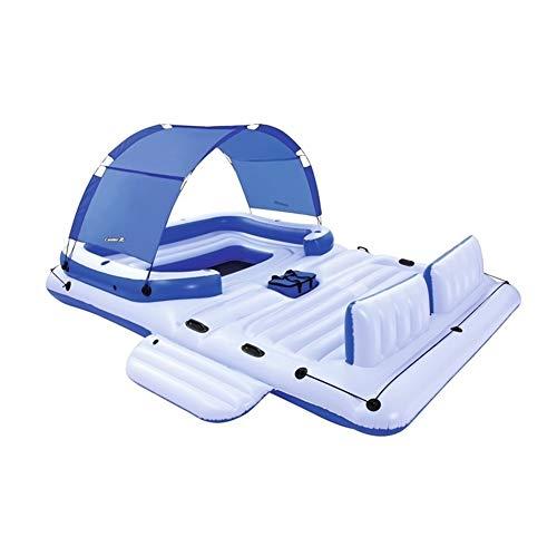 SADDPA Gigante 6 Persona Inflable Tropical Breeze Isla Flotante Cama Barco Piscina flotadores con Sun Canopy Agua Juguetes Diversión de la Piscina balsa