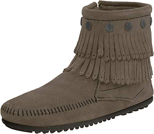 Minnetonka Damen Double Fringe Side Zip Boot Mokassin Stiefel, Grau (Grey 1T), 37