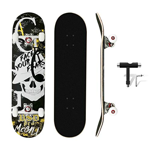 MammyGol Standard Skateboards with All-in-One Skate T-Tool 31''x 8'' Complete Skateboard Cruiser 7 Layer Canadian Maple Double Kick Concave Standard and Tricks Skateboards for Beginner and Pro