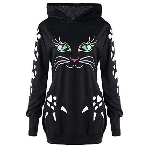 TUDUZ Damen Halloween Kostüm Rundhals Katze Drucken Mit Ohren Langarm Sweatshirt Pullover Tops Kapuzenpulli