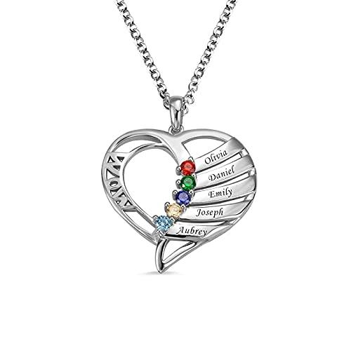Hrozyho Collar personalizado para mamá, nombre de niños, piedra natal, collar familiar, joyería personalizada, regalo del día de la madre, collar para mamá, collar para mamá nueva (plata de ley 925)