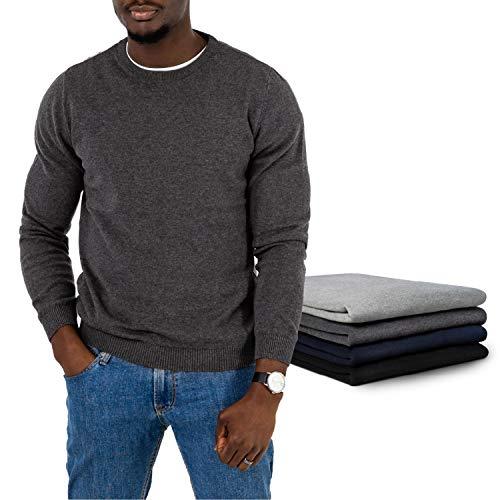 ZENAPHYR Herren Pullover Rundhalsausschnitt - 100% Baumwolle - Pullover Herren ohne Kapuze - Cardigan Herren Grau Pulli Größe Medium - Sweatshirt Langarmshirt Herren Kleidung