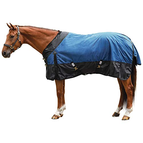 STORM SHIELD Extreme Turnout Sheet - Playful Horses | Size 74 Slate Blue | 1680 Denier | Contour Collar | Criss-Cross Surcingle | Euro Fit | Waterproof, Windproof & Breathable | Easy Snap Front