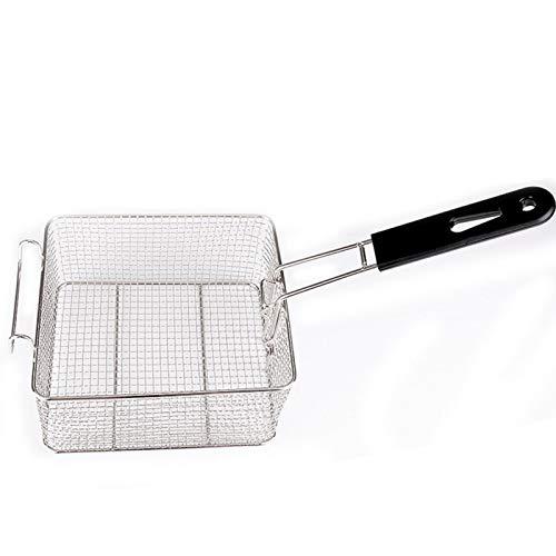Cesta para freír, cesta de malla de acero inoxidable con asa larga, cesta para freír patatas fritas de malla de alambre cuadrada para patatas fritas, camarones, cesta para freír pescado