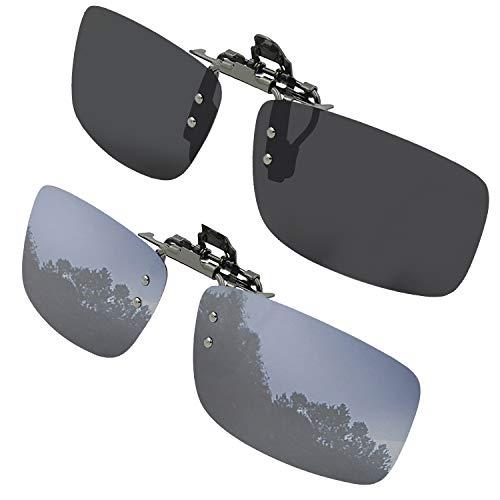 Clip On Sunglasses Flip Up Polarized Sunglasses Clip on over Prescription Eyeglasses with Case