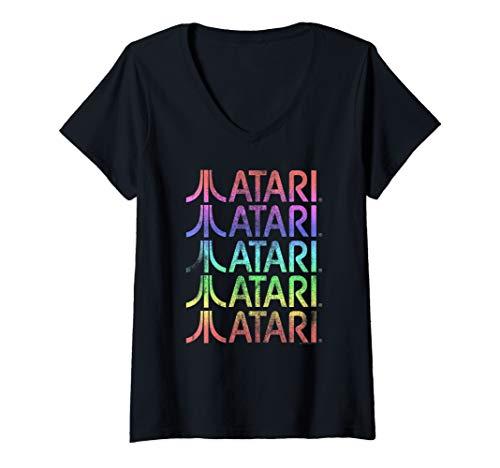 Womens Atari Stacked Logos Vintage Gradient V-Neck T-Shirt, S to 2XL
