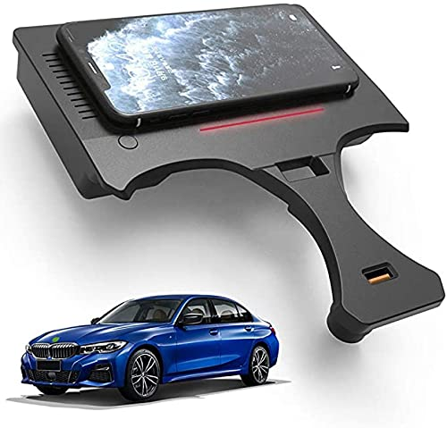 Cargador de Coche Inalámbrico para BMW 3 Series G20 G28 2020 2021 Panel de Accesorios de Consola Central 15W Qi Fast Charger Pad con Puerto USB para iPhone 11/XS/XR/X/8,Samsung S20/S10/S9/S8