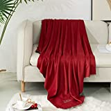Jane&Hong Microfiber Throw Blanket, Throw Blanket Lightweight Throw Size, Reversible Throw Blanket Red/Grey, 43 by 60 Inch