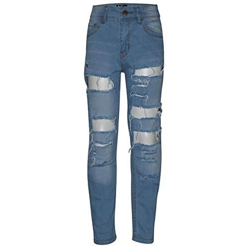 A2Z 4 Kids® Kinderen Jorgens Rekbaar Jeans Lichtblauw Ontwerper Denim Gescheurd Mode Fietsers Mager Broek Modieus Bottom Slim Fit Verstelbare Taille Jeans Leeftijd 3-14 Jaren