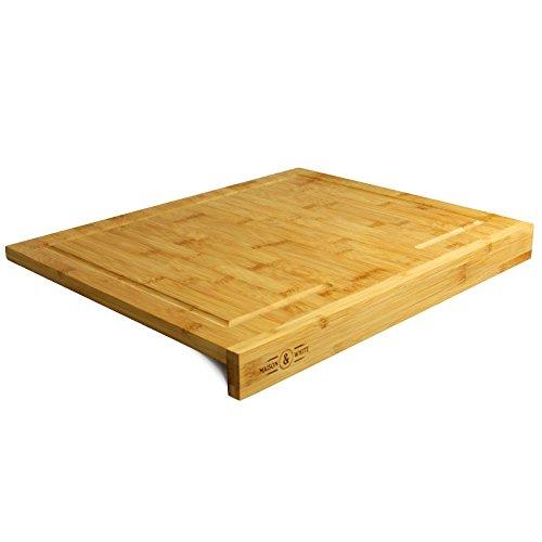 Maison & White Tabla de cortar de bambú de borde contrario | Asegurar tabla de cortar de madera de cocina | 100% natural, bambú duradero