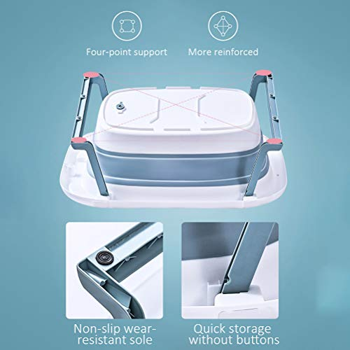 ICRPSTU Baby Bathtub,Baby Bath seat,Baby Travel Essential,Portable Bathing Tubs Foldable Infant Shower Basin Anti Slip Bathtub with Baby Cushion for Children