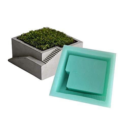 Hughdy Pot de Fleur en Silicone Moule, réutilisable Bricolage Pot de Fleur en béton Moule en Silicone succulente jardinière Moule Vert