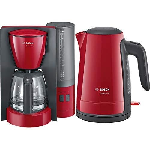 Bosch TKA6A044 Kaffeemaschine ComfortLine, Aromaschutz-Glaskanne, automatisch Endabschaltung wählbar in 20/40/60 minuten, 1200 W, rot/anthrazit & TWK6A014 Wasserkocher ComfortLine, 1-Tassen-Funktion