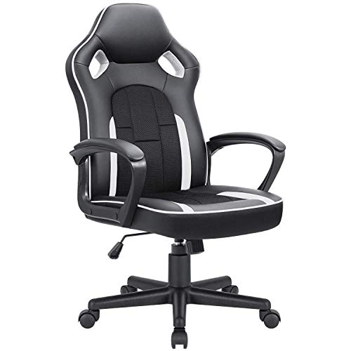 JUMMICO Gaming Chair Ergonomic Executive Office Desk Chair High Back Leather Swivel Computer Racing Chair with Lumbar Support (White)
