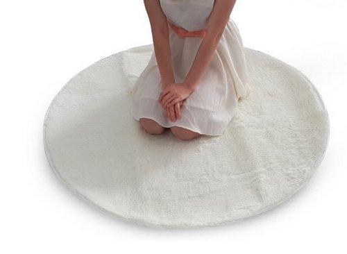 Blancho Rund yogamatta elfenben ull yogamatta lång 13 cm tjock träningsmatta