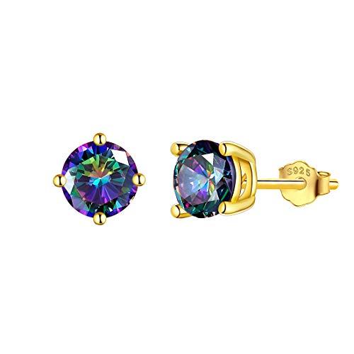 Aurora Tears Earrings 925 Sterling Silver Mystic Rainbow Topaz Stud Earring CZ Gold Teardrop Eardrop Jewelry Gifts for Men and Women DE0093M-Y